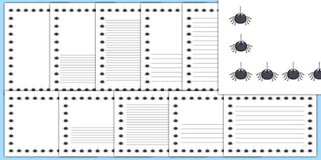 Spider Full Page Borders - page borders, spider page borders, spider borders for page, minibeast page borders, spiders, A4, border for page, lined pages