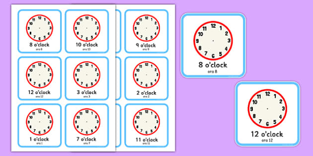 Write the Time O'Clock Cards Romanian Translation - romanian, write, time, o'clock, cards, clocks