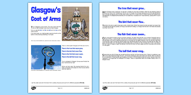 Glasgow Coat of Arms Information Sheet CfE Second Level - Glasgow, Scotland, People, Place, City, Coat of Arms, St Mungo, Kentigern