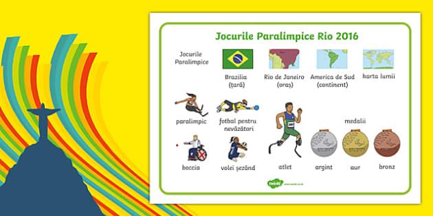 Rio Paralympics 2016 SEN Word Mat Romanian-Romanian