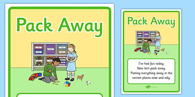 Pack Away Display Poster - pack away, display poster, display, poster, tidy time, tidy away, pack up, pack, away