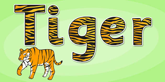 'Tiger' Display Lettering - safari, safari lettering, safari display lettering, safari display words, tiger display lettering, tiger letters, tiger