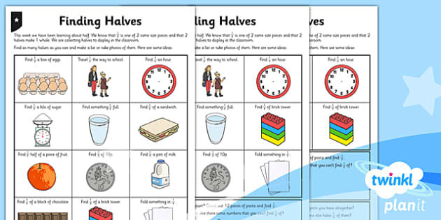 Finding Half Differentiated Home Learning - planit, fractions, year 1, maths, home learning