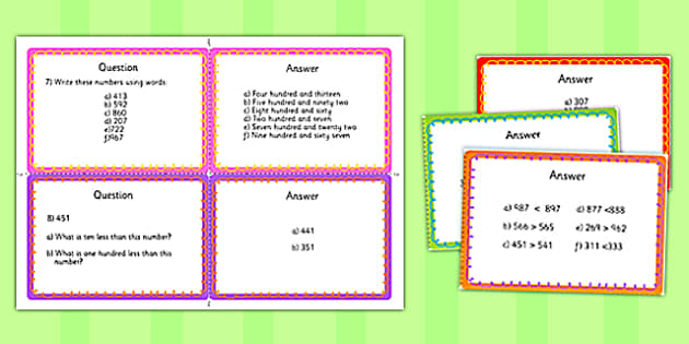 Year 3 Number and Place Value Challenge Cards - year 3, number, place value