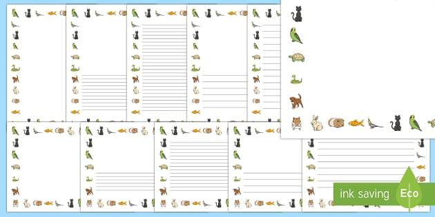 Pets Page Borders (A4) - pets, dog, cat, rabbit, page border, border, A4, writing template, writing aid, writing, hamster