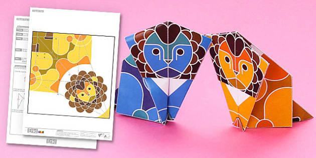 Enkl Origami Lion Printable - Enkl, arts, crafts, activity, adult, home, decor, designer, designer, decoration, interior, project, printable, cute, simple, paper, models, 3D, shape, colour, lion, origami