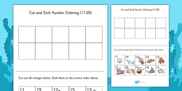 Under the Sea Themed Cut and Stick Number Ordering Sheets 11-20