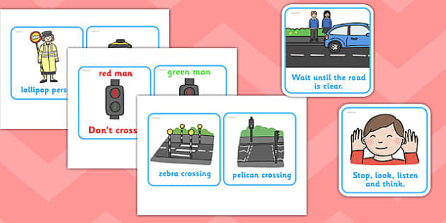 Road Safety Cards -  road signs, give way, one way, cards, flashcards, stop, road safety, rules