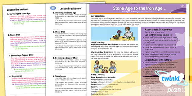 PlanIt - History UKS2 - Stone Age to the Iron Age Planning Overview CfE - history, stone, age, iron, ks2, 2014, planning