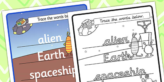 Topic Word Tracing Worksheet to Support Teaching on Aliens Love Underpants - aliens love underpants, word tracing, aliens love underpants word tracing, themed word tracing