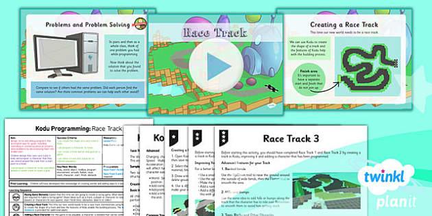 PlanIt Computing Year 6 Kodu Programming Lesson 5 Race Track Lesson Pack - ks2, uks2, key stage, junior, computers, it, itc, ict, programme, program, software, skills, resources, display, presentation, planning, notes, idea, information, game, design