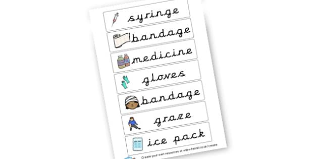Doctors and Nurses Vocab Cards - Doctor's Surgery Role Play Primary Resources, roleplay, role-play