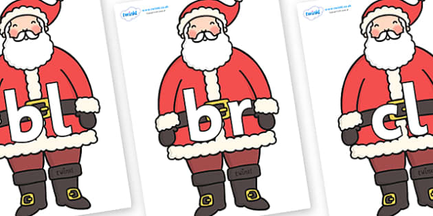 Initial Letter Blends on Father Christmas - Initial Letters, initial letter, letter blend, letter blends, consonant, consonants, digraph, trigraph, literacy, alphabet, letters, foundation stage literacy