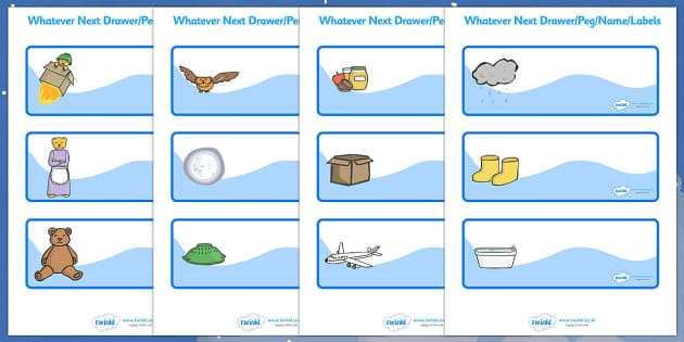 Editable Drawer-Peg-Name Labels to Support Teaching on Whatever Next! - Whatever Next!, Jill Murphy,  resources, space, baby bear, Large family, rocket, moon, owl, story, story book, story book resources, story sequencing, story resources, Editable D