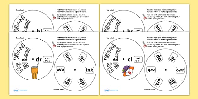Initial Blend Cluster Phonics Word Wheels - initial blend cluster, phonics, word wheels, words, word wheel, phonics, blends, find word, match word, initial blend, activity, finding words