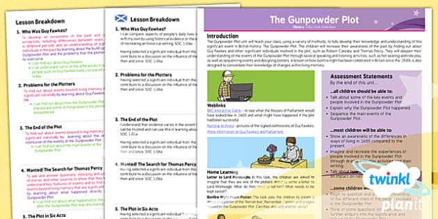PlanIt - History KS1 - The Gunpowder Plot Planning Overview CfE - guy fawkes, houses of parliament, Curriculum for excellence, Scottish, history, KS1, key stage 1, topic, planning, unit, november, fifth,
