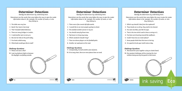 Determiner Detective Worksheets Differentiated - worksheet