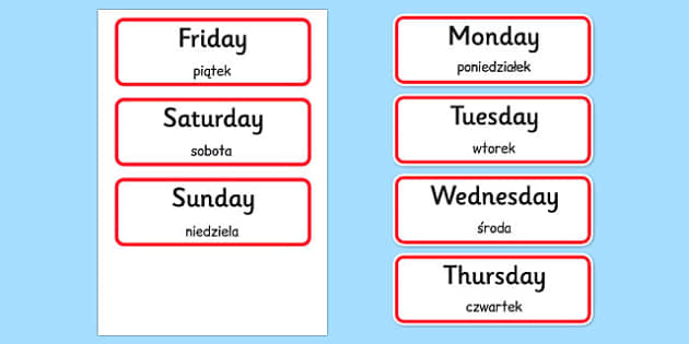 Days of the Week Word Cards Polish Translation - polish, days of the week, days, week, word cards, word, cards