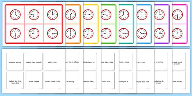 Mixed Time Bingo-Irish - Requests - ROI, Gaeilge, Irish, Time, Am, an t-am, clog, clocks, bingo,Irish