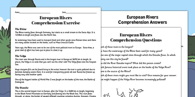 European Rivers Reading Comprehension Activity - river, worksheet