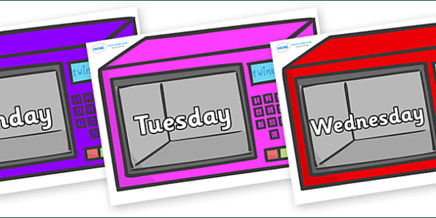 Days of the Week on Microwaves - Days of the Week, Weeks poster, week, display, poster, frieze, Days, Day, Monday, Tuesday, Wednesday, Thursday, Friday, Saturday, Sunday