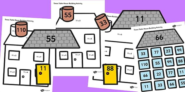 11 Times Table Active Picture Building Activity House - 11, times, times table, times tables