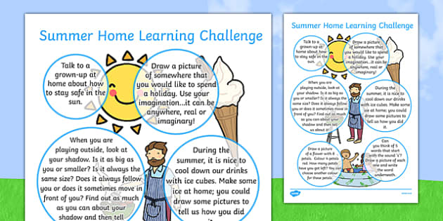 EYFS Summer Home Learning Challenge Sheet Nursery FS2 - eyfs, summer, home learning