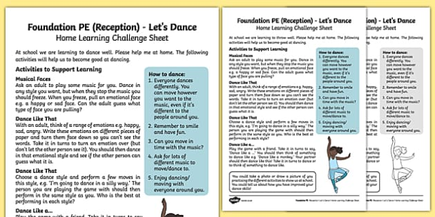Lets Dance Home Learning Challenge Sheet - EYFS, PE, Physical Development, Planning