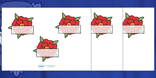 Editable Self Registration Labels (The Tudors Lancashire Rose) -  Self registration, register, editable, labels, registration, child name label, printable labels, The Tudors, Lancashire Rose, tudors