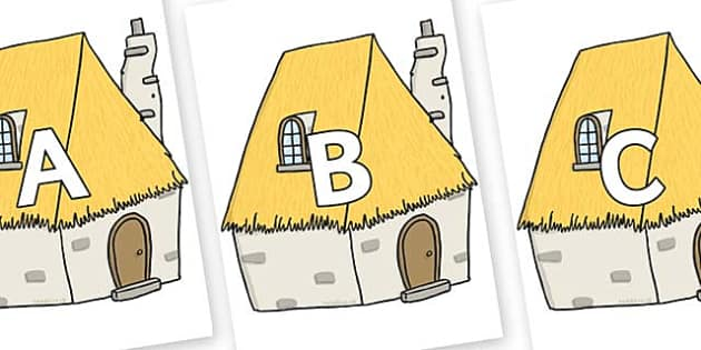 A-Z Alphabet on Cottage - A-Z, A4, display, Alphabet frieze, Display letters, Letter posters, A-Z letters, Alphabet flashcards
