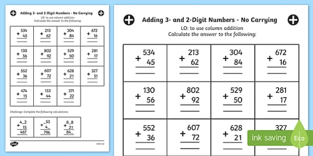 Adding 3 and 2 Digit Numbers in a Column Worksheet Year 3