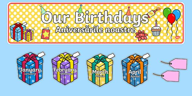 Editable Birthday Display Set (Presents) Romanian Translation-Romanian-translation