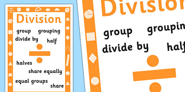 Key Stage 1 Division Poster - Maths, Division, Poster, Numbers