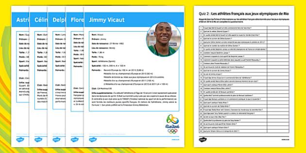 French Olympic Athletes Quiz 2 Activity Sheet - French, worksheet