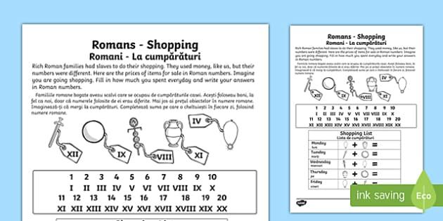 Roman Shopping Worksheet English/Romanian