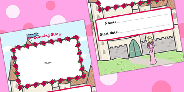 EYFS My Learning Story Front Cover Princess Themed - learning