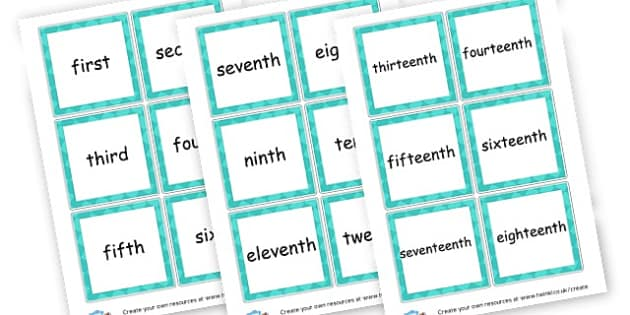 ordinal number words to twentieth - display lettering - Ordinal Numbers Primary Resources, ordering, numeracy, activities