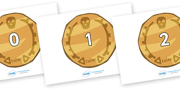 Numbers 0-100 on Pirate Coins - 0-100, foundation stage numeracy, Number recognition, Number flashcards, counting, number frieze, Display numbers, number posters