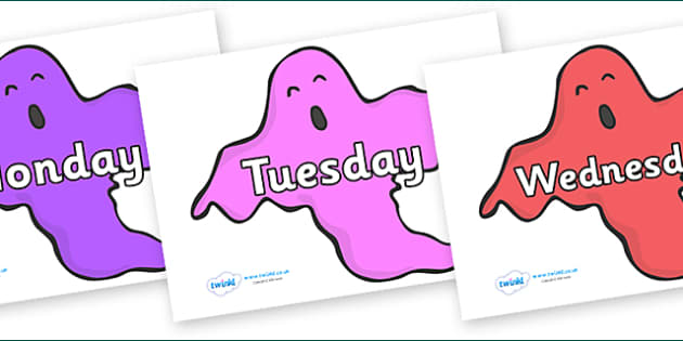Days of the Week on Ghosts (Multicolour) - Days of the Week, Weeks poster, week, display, poster, frieze, Days, Day, Monday, Tuesday, Wednesday, Thursday, Friday, Saturday, Sunday