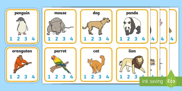 Animal Syllables Card Activity - animals, syllables, syllable card, animals card, card activities, syllable activities, card game, playing card, visual aid