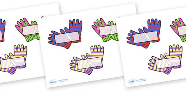 Editable Self Registration Labels (Wooly Gloves) - Self registration, register,wooly gloves, gloves, winter, editable, labels, registration, child name label, printable labels