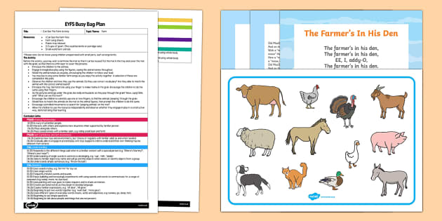 EYFS I Can See the Farm Busy Bag Plan and Resource Pack