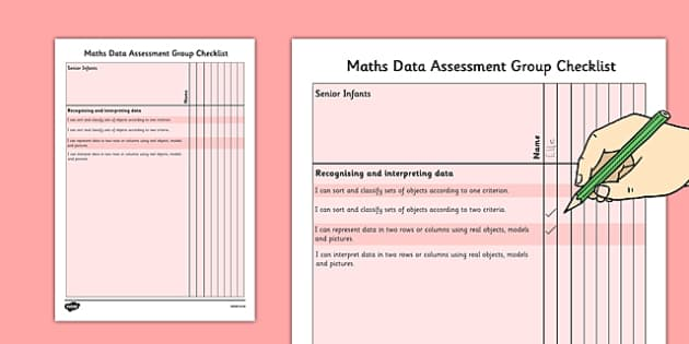 1999 Curriculum Senior Infants Maths Data Assessment Group Checklist - roi, irish, gaeilge, assessment checklist, maths, senior infants, data