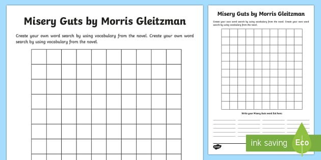 Create Your Word Search to Support Teaching on Misery Guts by Morris Gleitzman Word Search - Literacy, literature, activity, activity sheet, fun, literature, word search, template, create your