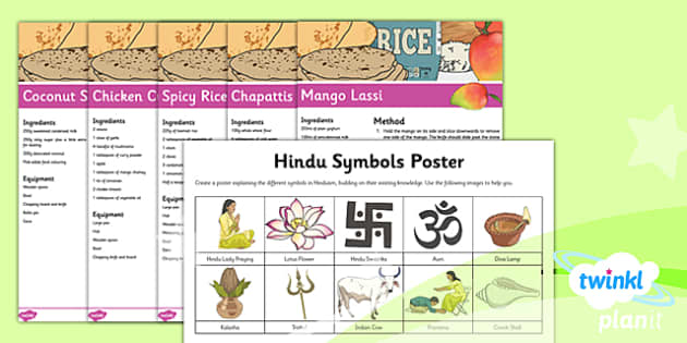 PlanIt - RE Year 3 - Hinduism Unit Home Learning Tasks - hinduism, symbols, meanings, diwali, recipes