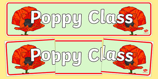 Poppy Themed Classroom Display Banner - Themed banner, banner, display banner, Classroom labels, Area labels, Poster, Display, Areas