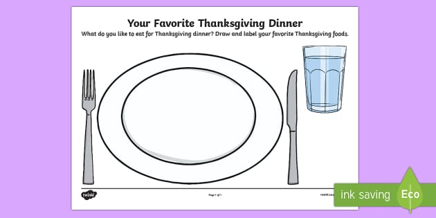 Your Favorite Thanksgiving Dinner Draw and Write Activity Sheet