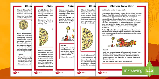 Chinese New Year KS1 (28th January) Differentiated Fact File - Chinese New Year, Celebration, festivals, rooster, year of the rooster