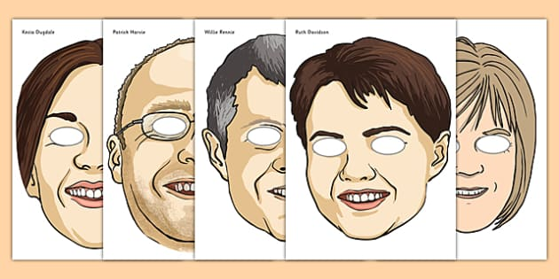 Scottish Elections 2016 Party Leader Role Play Masks - CfE, Scotland, politics, government, parliament, elections, voting