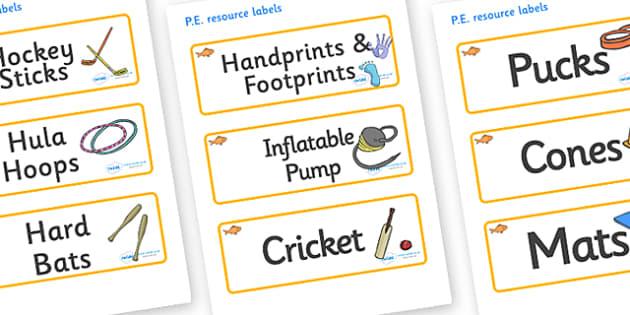 Goldfish Themed Editable PE Resource Labels - Themed PE label, PE equipment, PE, physical education, PE cupboard, PE, physical development, quoits, cones, bats, balls, Resource Label, Editable Labels, KS1 Labels, Foundation Labels, Foundation Stage L